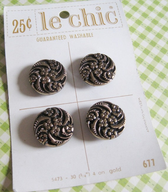 4 Vintage Black and Gold Glass Buttons on Button Card...le chic