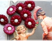 Set 12 REALISTIC Flower Vintage New Buttons SWEET
