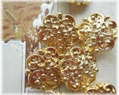 Ornate Flower Set 13 Vintage Gold  Buttons