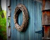 Vine Wreath on Blue Shed Door, Gardening, Art, Home Dec,