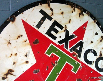 Old Texaco Sign with Bullet Holes Photo Note Card