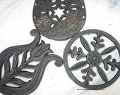 Vintage Black Cast Iron Trivets - Set of 3 - Instant Collection