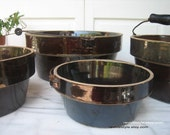 Antique Brown Stoneware Bowls with Wire and Wood Handles by RevivalStyle on Etsy