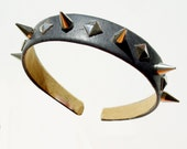Spiked Leather Headband black/brown