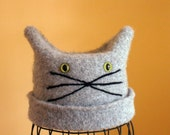 Gray Felted Cat Hat