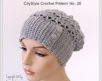 Crochet Slouchy Hat Pattern, Crochet Headband Pattern, Crochet Hat Pattern, Earwarmer Pattern, Crochet Toque Pattern, Easy Crochet Pattern