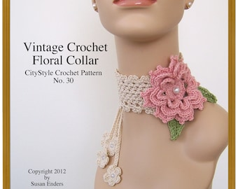Crochet Pattern Vintage Style Crochet Collar, Rose Applique,  Blossom Tie, Leaves / Wedding Bridal Prom Accessory / INSTANT DOWNLOAD
