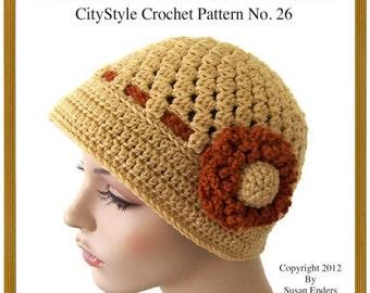 Crochet Hat Pattern, Flapper Hat Pattern, Crochet Cloche Pattern, Crochet Flower, Women Crochet Hat, Teen Hat Pattern, Easy Crochet Pattern