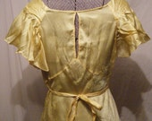 SALE was 70 now 60 Golden Sun vintage 1930s Bias Cut Nightgown with Keyhole back and Novelty print Large