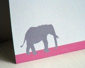 Elephant Personalized Stationery - Thank You Note Cards - Pink and Grey Flat Notes . Notecards . Gray . Circus Animals . Set of 10