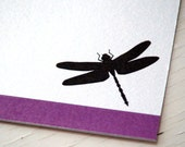 Dragonfly Personalized Stationery - Note Cards - Thank You Notes - Purple and White Notecards - Set of 10