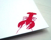 Lobster Personalized Stationery - Thank You Notes - Red and White Flat Cards . Notecards . Set of 10