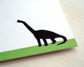 Brontosaurus Personalized Stationery - Apatosaurus Dinosaur Note Cards - Thank You Notes . Green and White Flat Cards . Set of 10
