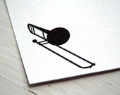 Trombone Personalized Stationery - Note Cards - Thank You Notes - Musical Instrument Notecards - Set of 10