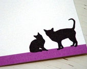 Personalized Flat Social Stationery Cards with Name Personalized Notecard Set Cats Stationary