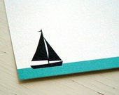 Sailboat Personalized Stationery - Sailor Note Cards - White and Blue Notecards - Blank Cards - Set of 10