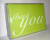 Thank You Cards - Folded Notecards - Lime Green Notes . Blank Greeting Cards . Set of 10