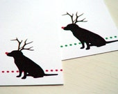 Personalized Stationery Christmas Stationary Black Lab Note Cards Rudolf Red Nose Dog