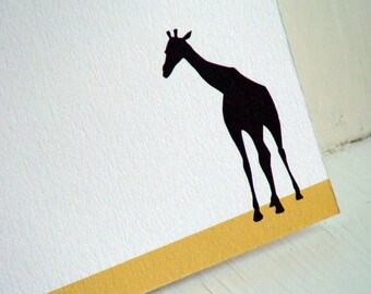 Giraffe Personalized Stationery - Note Cards  - Mustard Yellow and White Notecards . Flat Notes . Safari Animals . Set of 10