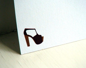 Wooden Platform Shoe Personalized Stationery - Thank You Notes - Flat Cards -  Set of 10