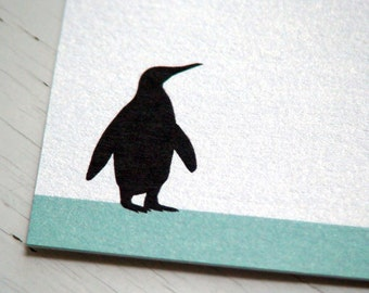 Personalized Stationery Set - Penguin Stationary Thank You Note Cards - Flat Notes . Fine Paper
