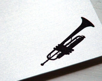 Trumpet Personalized Stationery - Thank You Notes - Flat Notecards - Musical Instrument . Trumpeter . Set of 10