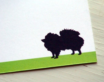 Personalized Stationery Pomeranian Dog Silhouette Note Cards - Thank You Notes - Pets . Pet Lovers . Set of 10