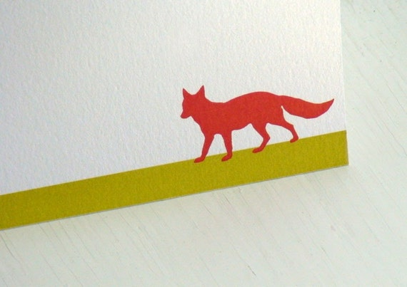 Fox Personalized Stationery - Flat Notecards - Note Cards - Thank You Notes - Blank Cards - Set of 10