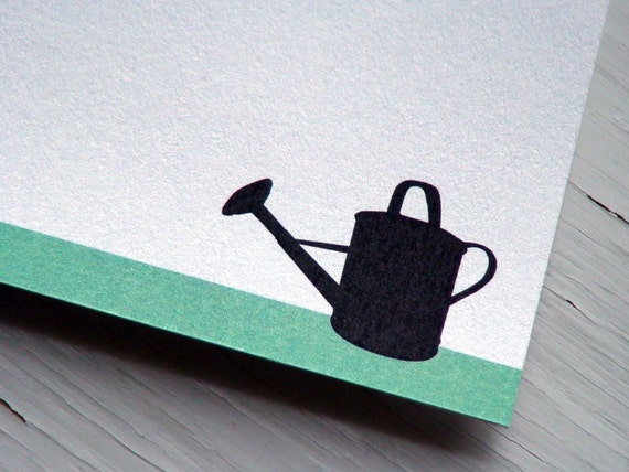Personalized Stationery Gardener Thank You Notes Watering Can Flat Notecards Spring Stationary Blank Cards  - Set of 10