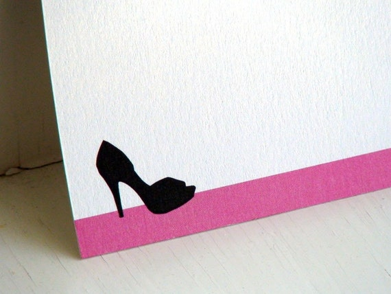 Shoe Personalized Stationery - Note Cards - Thank You Notecards - Peep Toe Pump - Pink and White Flat Notes - Stationary Set of 10