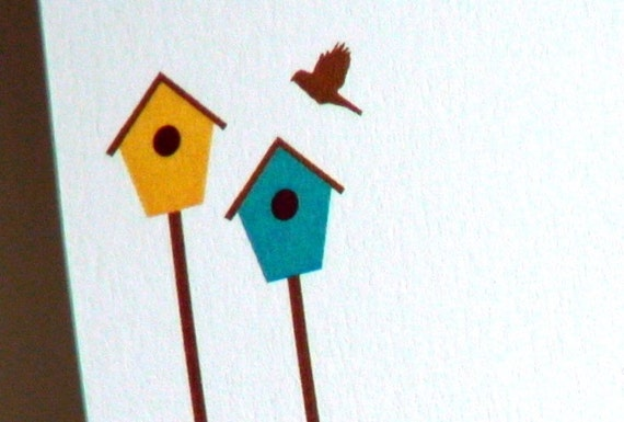 Birdhouses Personalized Stationery - Bird House Thank You Notes - Aqua and Yellow Notecards - Nature Themed Cards - Set of 10
