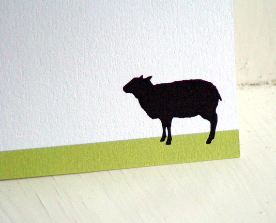 Sheep Personalized Stationery - Thank You Notes - Notecards - Flat Cards . White and Green Notes . Set of 10