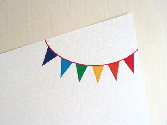 Personalized Note Card Set Rainbow Party Note Cards Bunting Thank You Notes Bridesmaid Gifts Personalized Gift Card