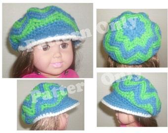 Crochet Pattern -18 inch American Girl Sized Doll Slouch Brim Hat