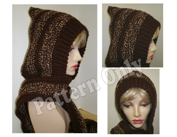 Crochet Pattern - Adult Size Skoodie - Hood with Attached Scarf