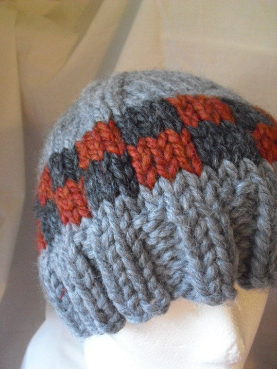 Hand Knit Hat Thick and Warm SZ L Free Ship gray rust and black