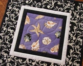 Mini Quilt Candle Mat Mug Rug with Seashells in Lavender Black and White - susiquilts