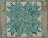 Beach Decor Wall Hanging or Table Runner in Sea Glass Batiks Turquoise Teal and Aqua