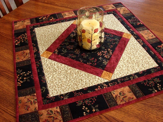Reserved for kradda - Quilted Fall Table Topper Gold Metallic Accents