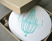 Letterpress Coasters - Turquoise Chandeliers - Set of 8