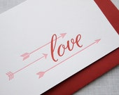 Love Letterpress Card - Cupid's Arrow Valentine