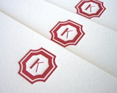 Custom Letterpress Stationery - Regency Initial flat note set