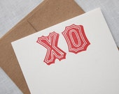 XO Kisses and Hugs Letterpress Flat Notes - Stationery - Set of 6