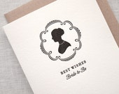 SALE Letterpress Bridal Shower Card - Silhouette