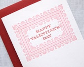 Letterpress Happy Valentines Day Card - Victorian Frame Valentine