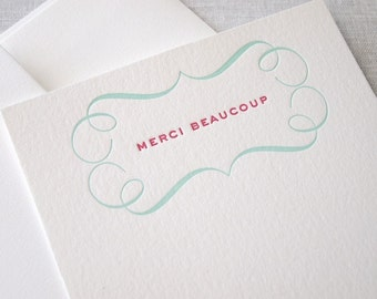 Merci Beaucoup Letterpress Stationery - Set of 6 Flat Notes
