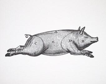 Letterpress Art Print Le Cochon 8x10 - Pork Meat Cuts Chart - Vintage Pig Diagram