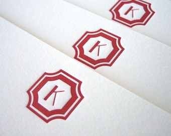Custom Letterpress Stationery - Regency Initial flat notes - Set of 25