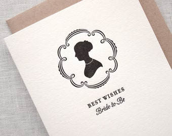 Letterpress Bridal Shower Card - Silhouette Bride-to-be