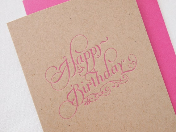 SALE Letterpress Happy Birthday Greeting Card